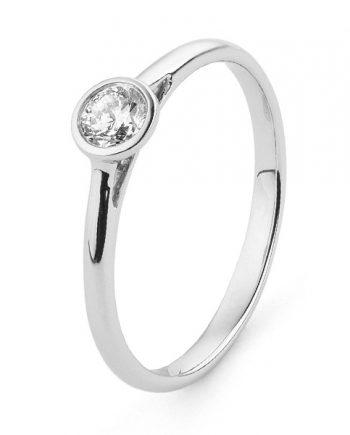 18K Witgouden verlovingsring met diamant van 0.25 ct. - Model Circle