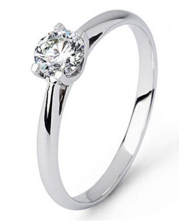 18 karaat witgouden solitaire verlovingsring met een 0,40 caraat briljant geslepen diamant. Model Joy040
