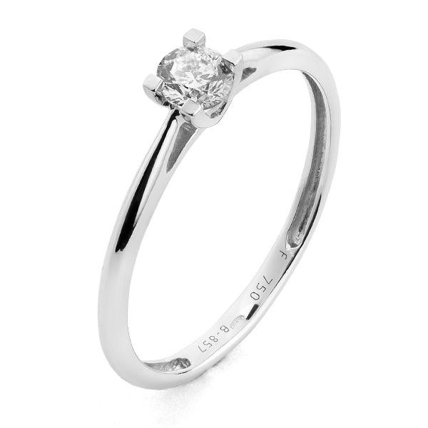 Witgouden solitaire verlovingsring, model Love005 met een 0,05 ct. briljant geslepen diamant uit onze voordeel collectie.