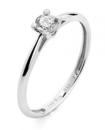 Witgouden solitaire verlovingsring, model Love015 met een 0,15 ct. briljant geslepen diamant uit onze voordeel collectie.