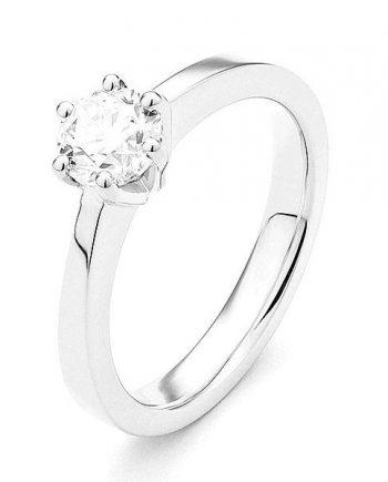 18 karaat witgouden solitaire verlovingsring met een briljant geslepen diamant. Model Princess