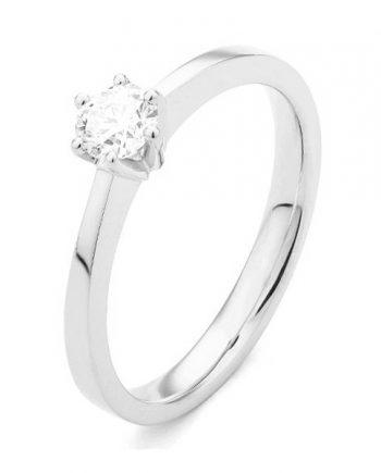 18 karaat witgouden solitaire verlovingsring met een 0,10 caraat briljant geslepen diamant. Model Princess010