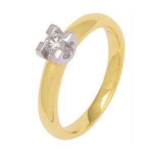 Wilt u een moderne bicolor gouden solitaire ring kopen? Kijk bij verlovingsringkopen.nl