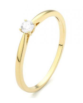18 karaat geelgouden solitaire verlovingsring met een 0,10 caraat briljant geslepen diamant. Model Happy010
