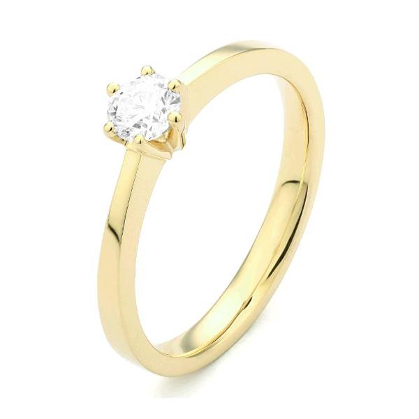 18 karaat geelgouden solitaire verlovingsring met een 0,05 caraat briljant geslepen diamant. Model Princess005