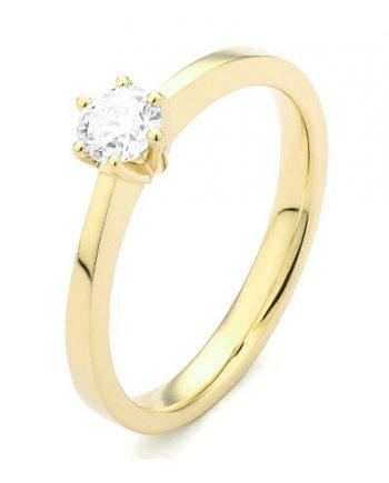 18 karaat geelgouden solitaire verlovingsring met een 0,10 caraat briljant geslepen diamant. Model Princess010