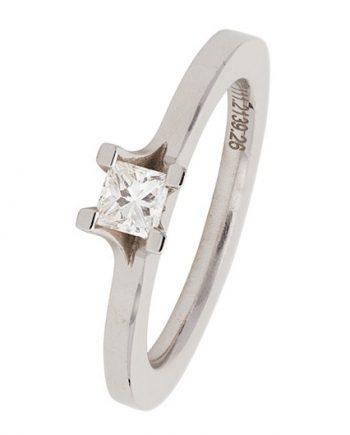 18 karaat witgouden solitaire verlovingsring van het merk Meister met een 0,26 ct. princes geslepen diamant. Model 901575