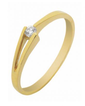 geelgouden verlovingsring van het merk Eclat. Groeibriljant ring met 0,05 ct. aan briljant. Model Victorie-05