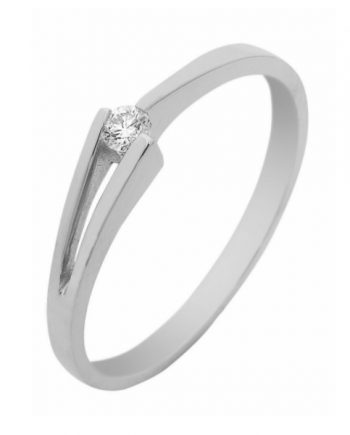 witgouden verlovingsring van het merk Eclat. Groeibriljant ring met 0,03 ct. aan briljant. Model Victorie-03