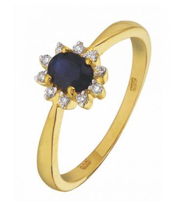 14 krt. geelgouden verlovingsring (entourage ring) met blauw saffier en 0.16 ct. diamant.
