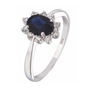 verlovingsring (entourage ring) met blauw saffier en diamant.