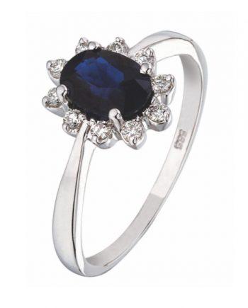 witgouden verlovingsring entourage ring model met blauw saffier en briljant. Model 124-54