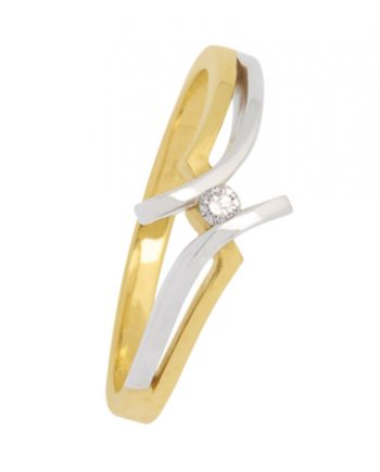 14 krt. bicolor bicolor gouden verlovingsring (fantasie slagmodel). Eclat groeibriljant ring met 0.04 ct briljant. Model 4237-04