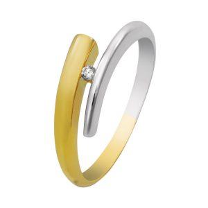 14 krt. bicolor gouden verlovingsring. Model 4260