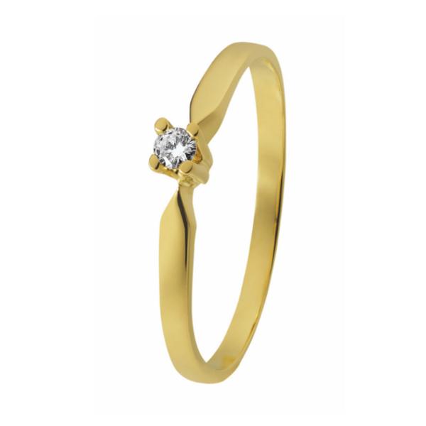 14 karaat geelgouden solitaire ring. Verlovingsring van het merk Eclat met groeibriljant a 0,05 ct. model ID33-05