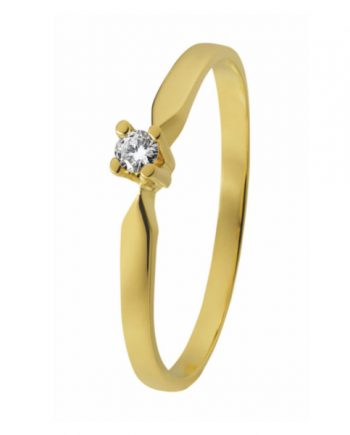 14 karaat geelgouden solitaire ring. Verlovingsring van het merk Eclat met groeibriljant a 0,12 ct. model ID33-12