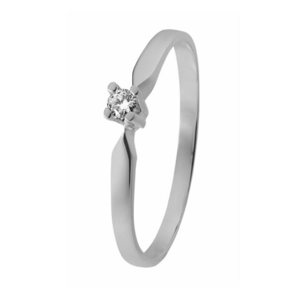 Witgouden solitaire verlovingsring ID3305 met een 0,05 ct. briljant geslepen diamant van het merk Eclat groeibriljant