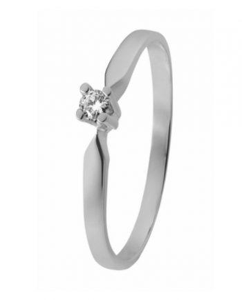 Witgouden solitaire verlovingsring ID3307 met een 0,07 ct. briljant geslepen diamant van het merk Eclat groeibriljant