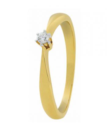 geelgouden verlovingsring solitaire model van het merk Eclat met 0,05 ct. briljant. Model ID76-05