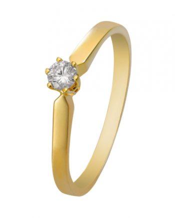 14 karaat geelgouden solitaire ring. Verlovingsring met groeibriljant a 0,12 ct. model R16-12