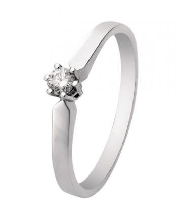 Witgouden solitaire verlovingsring R1612 met een 0,12 ct. briljant geslepen diamant van het merk Eclat groeibriljant