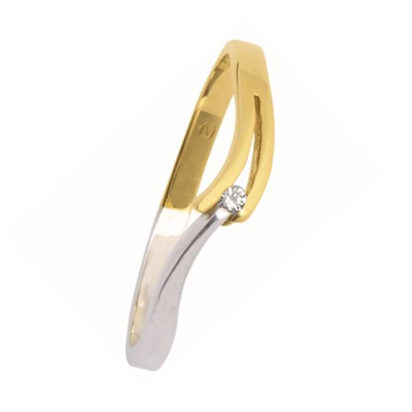 wit-gouden verlovingsring van het merk Eclat. Groeibriljant ring met 0,02 ct. aan briljant. Model V-slag-02
