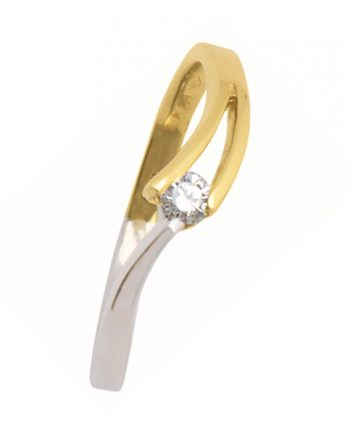 wit-gouden verlovingsring van het merk Eclat. Groeibriljant ring met 0,12 ct. aan briljant. Model V-slag-12