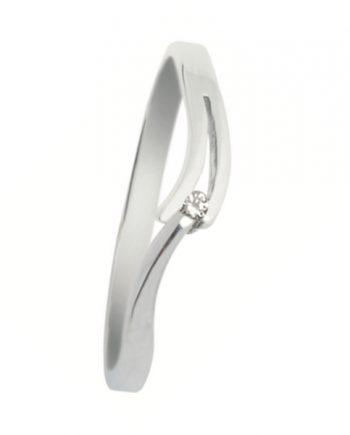 wit-gouden verlovingsring van het merk Eclat. Groeibriljant ring met 0,08 ct. aan briljant. Model V-slag-08
