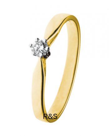 14K Geel-gouden groeibriljant verlovingsring van het merk Eclat, met een briljant geslepen diamant van 0.07 ct. - Model klassiek zes poots