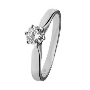 14K Witgouden verlovingsring van het merk Eclat, met een briljant geslepen diamant