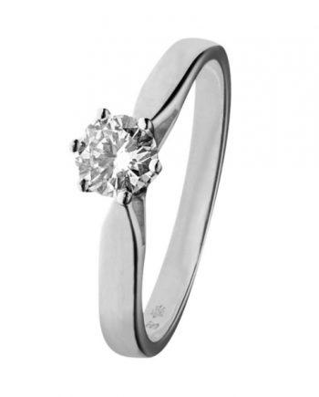 Witgouden solitaire verlovingsring KL42 met een 0,42 ct. briljant geslepen diamant van het merk Eclat groeibriljant
