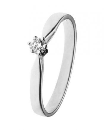 Witgouden solitaire verlovingsring KL05 met een 0,05 ct. briljant geslepen diamant van het merk Eclat groeibriljant