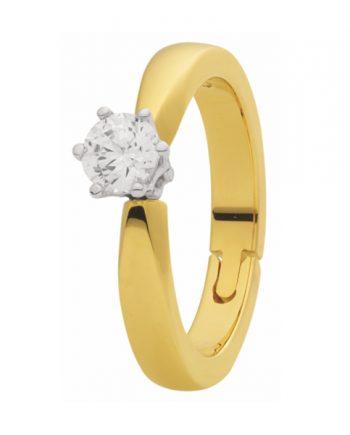 Geelgouden verlovingsring met reuma scharnier (reuma ring) solitaire model met 0.15 ct. diamant
