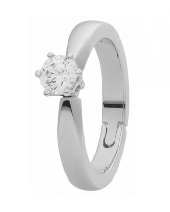 Witgouden verlovingsring met reuma scharnier (oftewel reuma ring) met 0.15 ct. diamant