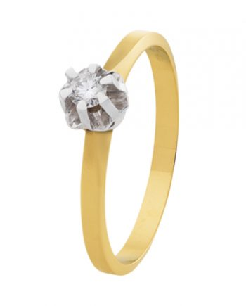 geelgouden Eclat groeibriljant verlovingsring, spiegelchaton solitaire ring met een 0,05 ct. briljant, model Spiegel-05