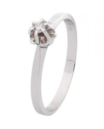 Witgouden solitaire verlovingsring Sp03 met een 0,03 ct. briljant geslepen diamant van het merk Eclat groeibriljant