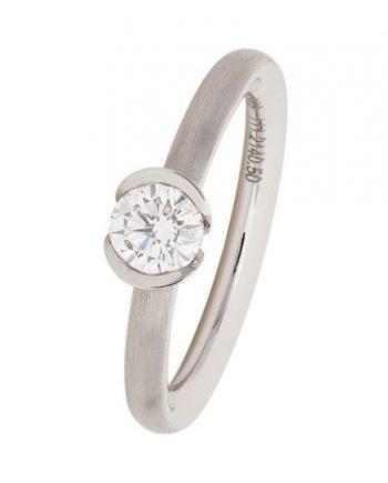 Een 18 karaat witgouden verlovingsring (solitaire ring van het merk Meister) met een 0.50 ct. briljant. Model 111.2140