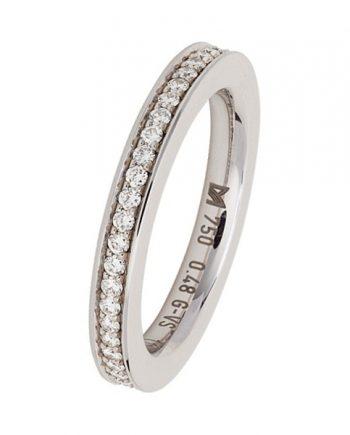 Meiser 18 karaat witgouden verlovingsring (alliance model) met 48 briljant geslepen diamanten met een totaal gewicht van 0,48 ct. Model 268.