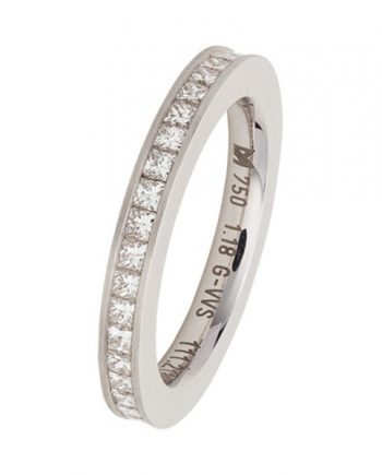 Meister 18 karaat witgouden verlovingsring (alliance model) met 39 princes geslepen diamanten met een totaal gewicht van 1,18 ct. Model 269