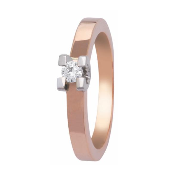 roodgouden Eclat groeibriljant verlovingsring, solitaire ring met een 0,10 ct. briljant, model R150-10