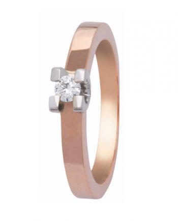 roodgouden Eclat groeibriljant verlovingsring, solitaire ring met een 0,12 ct. briljant, model R150-12