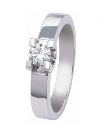 witgouden solitaire verlovingsring R22040 met een 0,40 ct. briljant geslepen diamant van het merk Eclat groeibriljant
