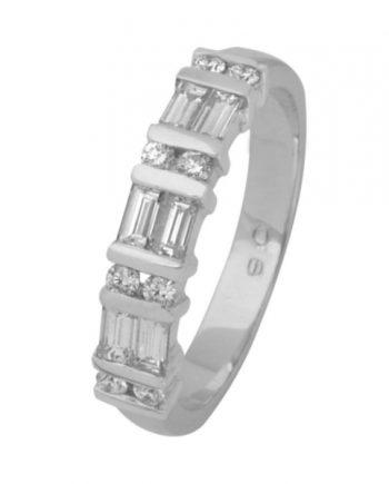 witgouden dubbele alliance verlovingsring met diamant van het merk Eclat, model R1740