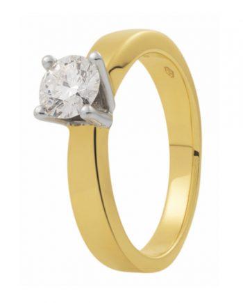 geelgouden Eclat groeibriljant verlovingsring, solitaire ring met een 0,05 ct. briljant, model R20-05