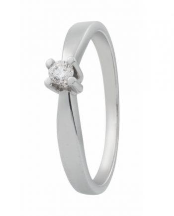 Witgouden solitaire verlovingsring R2007 met een 0,07 ct. briljant geslepen diamant van het merk Eclat groeibriljant