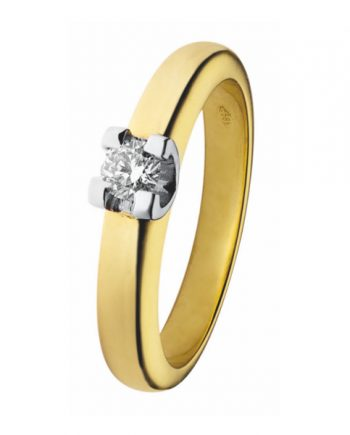 geelgouden Eclat groeibriljant verlovingsring, solitaire ring met een 0,15 ct. briljant, model R22-15