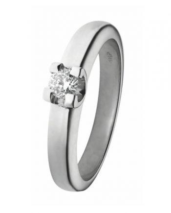 witgouden solitaire verlovingsring R22005 met een 0,05 ct. briljant geslepen diamant van het merk Eclat groeibriljant