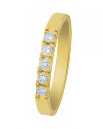 geelgouden alliance ring van het merk Eclat met vijf briljanten van 0,03 ct., verlovingsring model A303