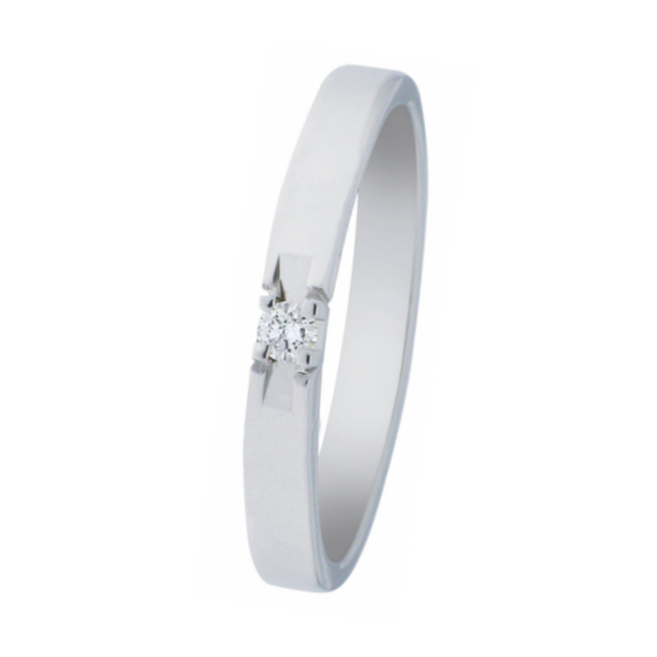 witgouden alliance ring van het merk Eclat met één briljant van 0,03 ct., verlovingsring model A303