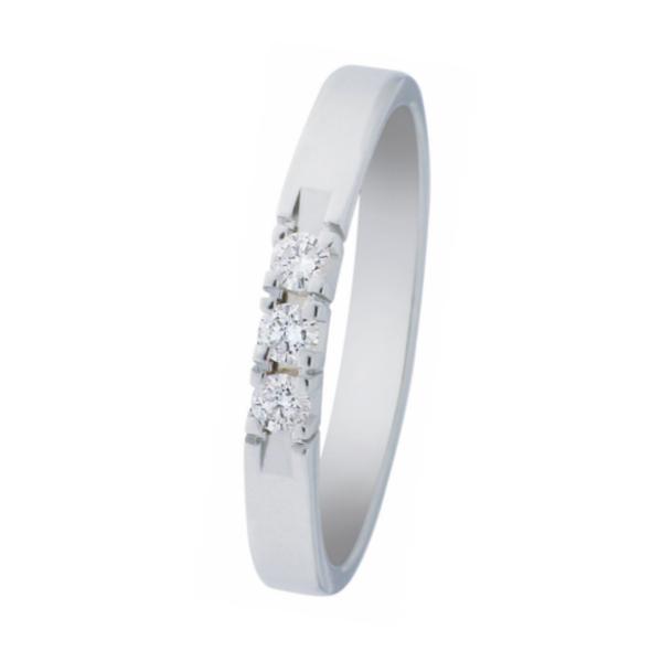 witgouden alliance ring van het merk Eclat met drie briljanten van 0,03 ct., verlovingsring model A303